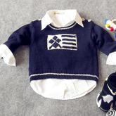 时光机(3-3)0-3岁棒针男童肩开扣套头毛衣视频教程 致富赚钱项目经典羊毛线作品