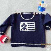 时光机 0-3岁经典棒针男童肩开扣套头毛衣