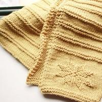 冬日里的一抹暖阳 粗针织棒针雪花成人儿童通用款小围巾