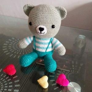 可爱的背带熊 钩针小熊玩偶图解