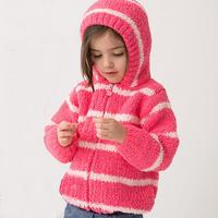 雪尼尔外套(3-3)儿童棒针绒绒线连帽拉链开衫毛衣织法视频