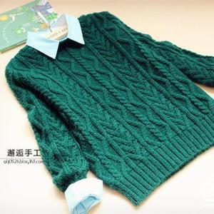 初阳 金羊男孩棒针竖波纹羊驼羊毛套头毛衣