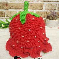 冬日保暖加绒儿童棒针草莓帽织法教程