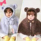 熊宝宝披肩(5-3)宝宝小熊款棒针连帽斗篷织法视频教程