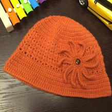 暖橘帽 中老年钩针卷边帽
