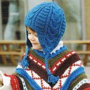 儿童棒针扭花护耳帽