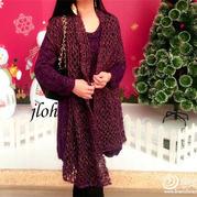 蔓紫纱华 女士棒针秋冬长款裙衣及配套披肩