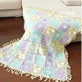 卡通小熊拼花毯(3-3)单元花拼接及毯子钩边 钩针宝宝毯拼花毯钩法