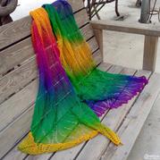艳丽金刚鹦鹉 彩虹魔球棒针蕾丝围巾