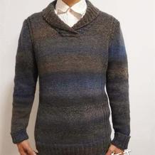 暮光 时尚减龄百搭男士棒针青果领套头毛衣