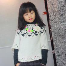 棉花糖 钩织结合女童中袖罩衫