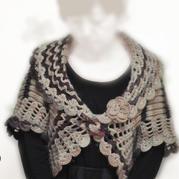 牧歌 花盆领女士一粒扣钩织结合开衫