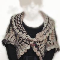 牧歌 花盆領女士一粒扣鉤織結合開衫