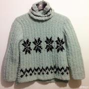 厚实暖和钩针圈圈线提花高领毛衣
