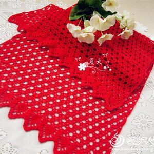 钱串子 本命年围巾大红色钩针围巾