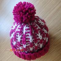 棒针绒球双色帽子织法
