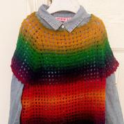 极简七色彩衣  从上往下钩女童插肩春秋罩衫