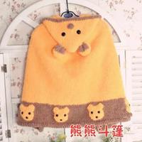 熊熊斗篷(3-3)棒针儿童连帽斗篷披肩编织视频教程