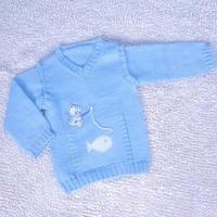 小猫钓鱼(4-2)儿童棒针马甲长袖两用毛衣织法编织视频教程