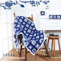 中国风青花瓷盖毯 钩针拼花毯手工编织视频教程