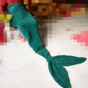 棒针美人鱼尾巴 创意编织美人鱼沙发毯