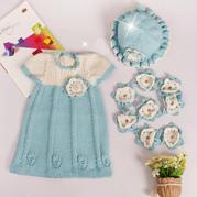 郁金香裙套装(6-6连衣裙织法)儿童棒针春秋短袖连衣裙编织视频教程