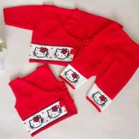 婴幼儿毛衣三件套(6-4)新生宝宝棒针叠襟毛衣马甲开裆裤编织视频(绣图附介绍中)