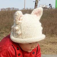 白猫 白色棒针可爱耳朵帽