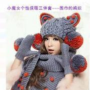 毛线围巾织法(4-4)小魔女个性保暖三件套毛线帽子围巾手套织法视频教程