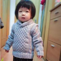织小熊翻译高富帅 男童棒针青果领毛衣