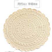 温馨高质感米色花片地垫 森风米色钩针地毯钩法视频