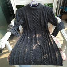 女士棒针麻花组合长袖连衣裙