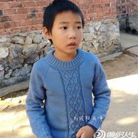 风轻云净蓝衣 男童棒针从上往下织圆领毛衣