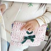 仿日本品牌dazzlin丝绒缎带蝴蝶结钩针链条包