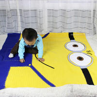 小黄人毯子钩法(2-1)钩毯编织视频教程
