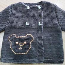 1-2岁宝宝棒针小熊开衫