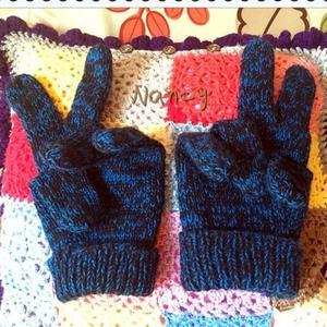 男士棒针羊绒手套 分指五指手套基础款式