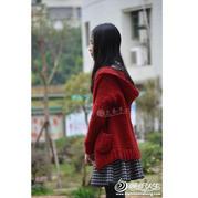 年味 女孩棒针圈圈羊毛大红色连帽休闲外套