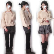 艾玛 云绒筒线2股全平针织灯笼袖短款罩衫与绒球围巾