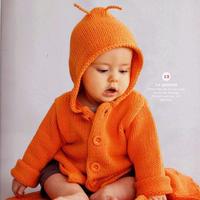 超萌婴幼儿棒针连帽外套毛衣 法国针织杂志Phildar71款
