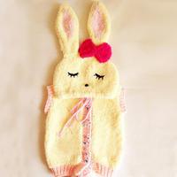 宝宝绒绒线小兔子马甲(2-1)棒针连帽马甲织法视频教程