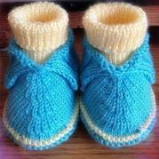 蓝色高筒宝宝毛线鞋的编织方法 怎么织宝宝毛线鞋