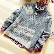 最想编织的儿童毛衣之GAP男童半开襟套头毛衣
