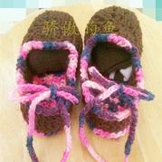 复古宝宝毛线鞋钩法 钩针男女宝宝毛线鞋编织教程