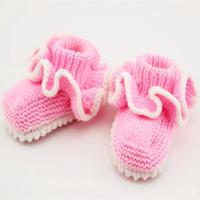 粉底白边花朵宝宝毛线鞋(2-1)棒针婴儿毛线鞋编织视频