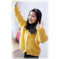 初春儿童新款手工毛衣之女孩棒针V领开衫毛衣图解教程