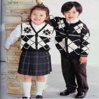 经典黑白配提花儿童长袖(无袖)开衫