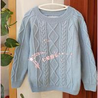 手编儿童毛衣之棒针麻花菱格圆领儿童毛衣编织教程