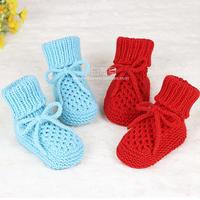 蜂窝花宝宝鞋鞋带织法(3-2)棒针婴儿小鞋子编织视频