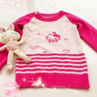 儿童毛衣编织款式之棒针kitty绣花图案双色插肩毛衣织法教程